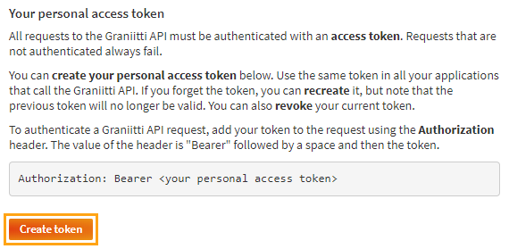 Getting your personal access token