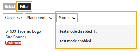 Filter modifications that have test mode enabled