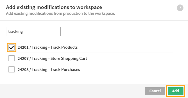Adding existing modifications to a workspace
