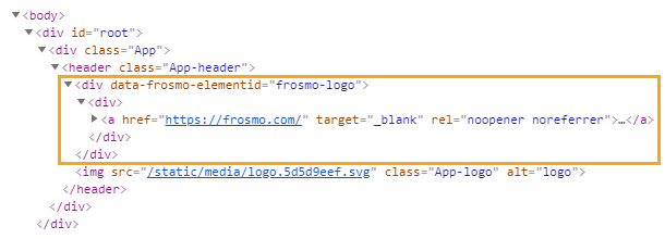 FrosmoPlacement rendered in the page source code