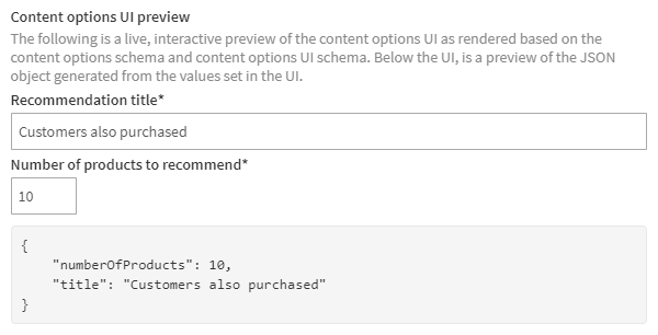 Content options UI preview for the recommendation slider template