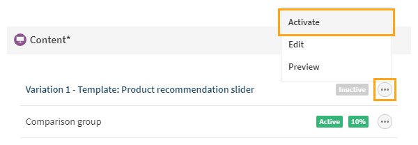 Defining the content for the recommendation slider modification