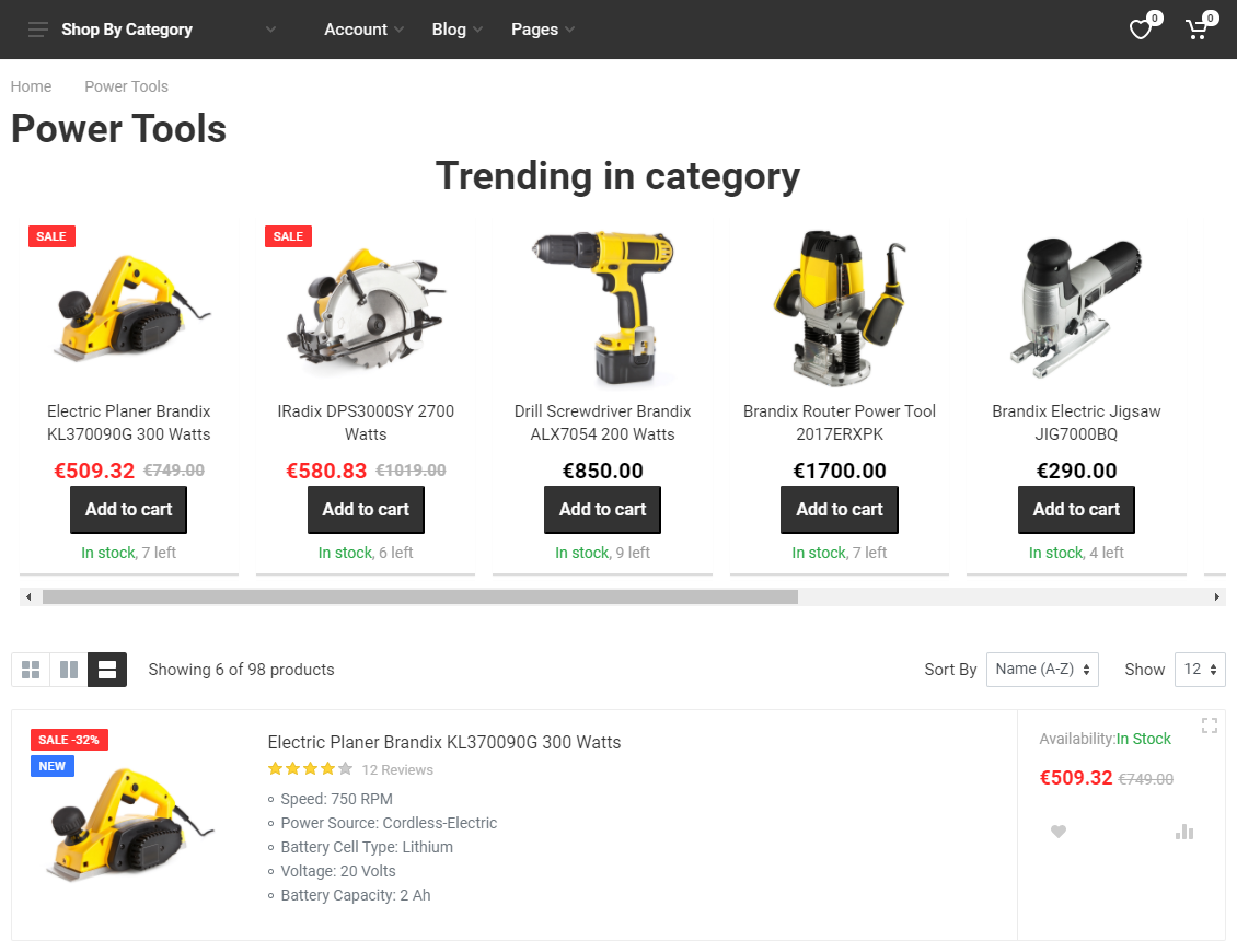 Product category page with a recommendation for trending products