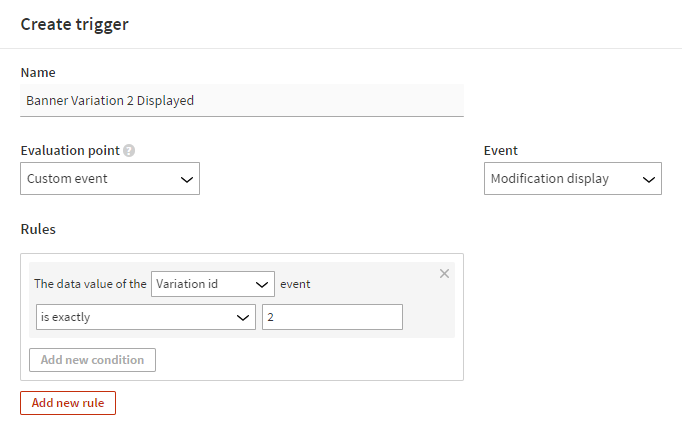 Defining an event data rule for a trigger (step 2)